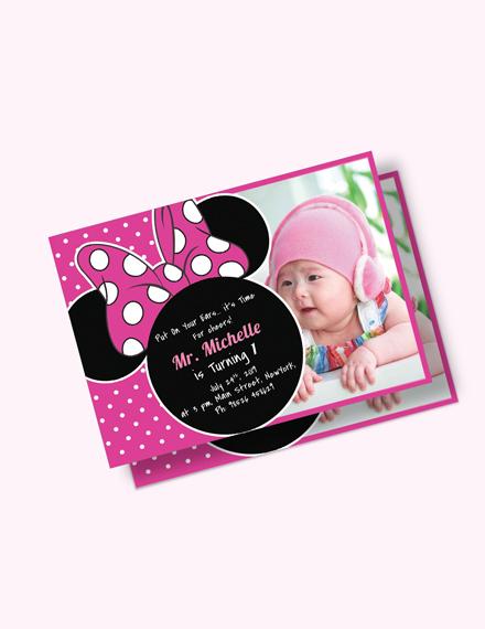 Bright Minnie Mouse Birthday Invitation Download