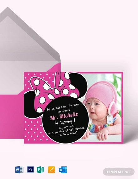 Bright Minnie Mouse Birthday Invitation Template