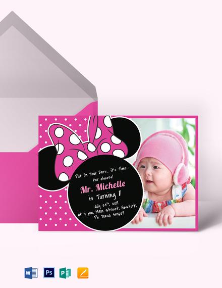Bright Minnie Mouse Birthday Invitation Template