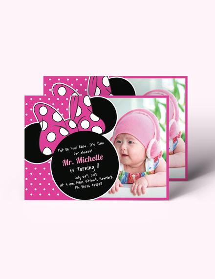 Sample Bright Minnie Mouse Birthday Invitation