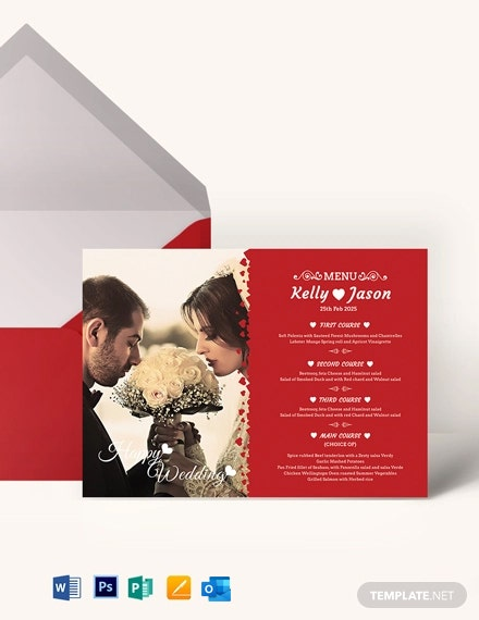 Classic Wedding Menu Invitation Template
