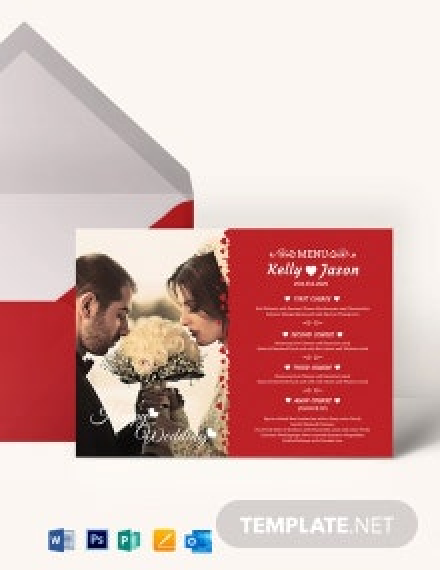 Classic Wedding Menu Invitation Template