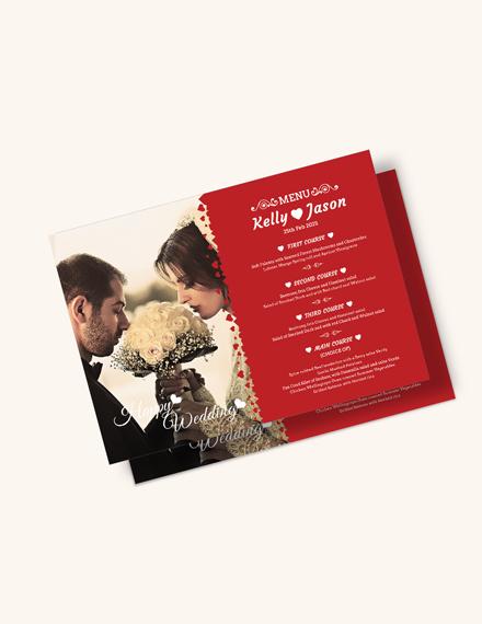 Classic Wedding Menu Invitation Template Download