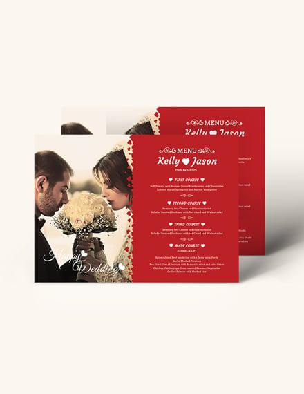 Sample Classic Wedding Menu Invitation Template
