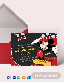 Delightful Mickey Mouse Birthday Invitation Template