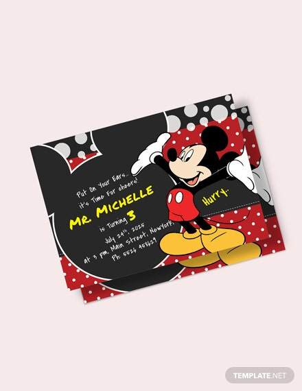Delightful Mickey Mouse Birthday Invitation Template Download