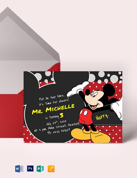 Delightful Mickey Mouse Birthday Invitation Template