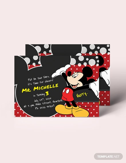 Sample Delightful Mickey Mouse Birthday Invitation Template