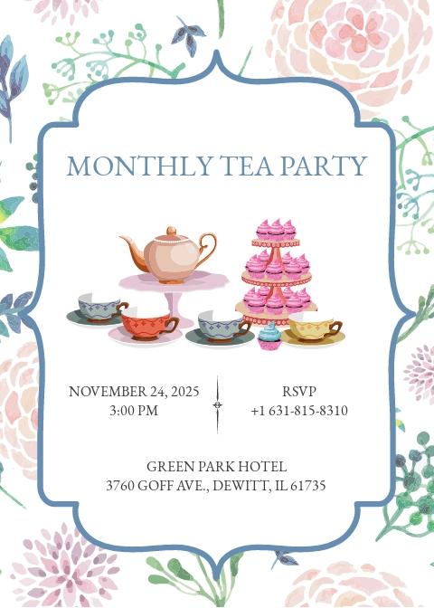 Elegant Tea Party Invitation Template