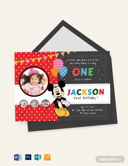 Exciting Mickey Mouse Birthday Invitation Template