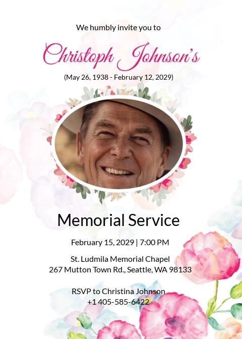 Funeral Obituary Invitation Card Template