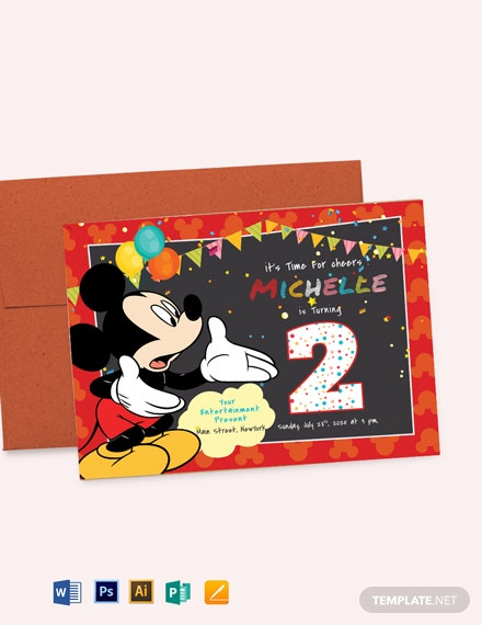 Great Mickey Mouse Birthday Invitation Template