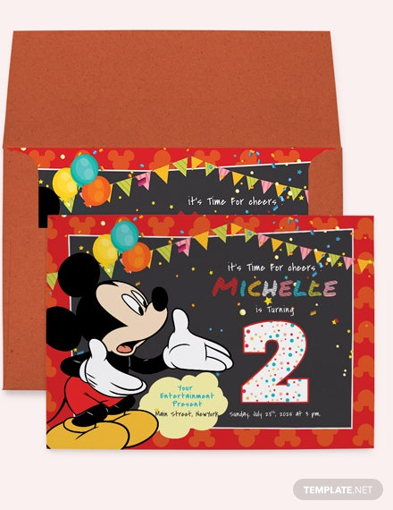 Great Mickey Mouse Birthday Invitation Template Download
