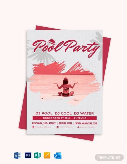 Grunge Pool Party Invitation Template