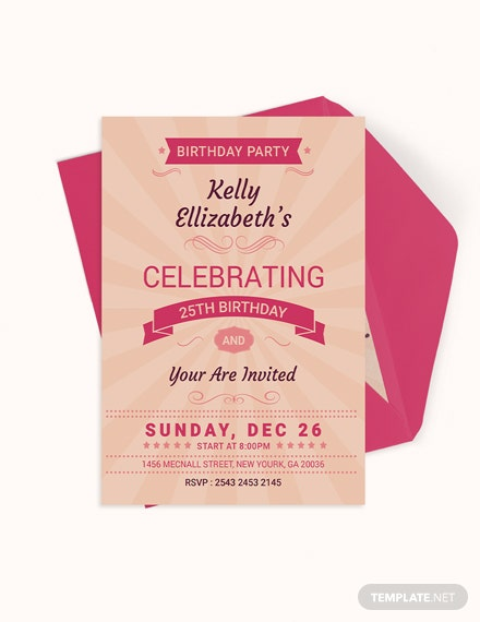 Happy Retro Birthday Party Invitation Card Template Download