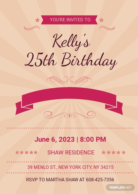 Happy Retro Birthday Party Invitation Card Template