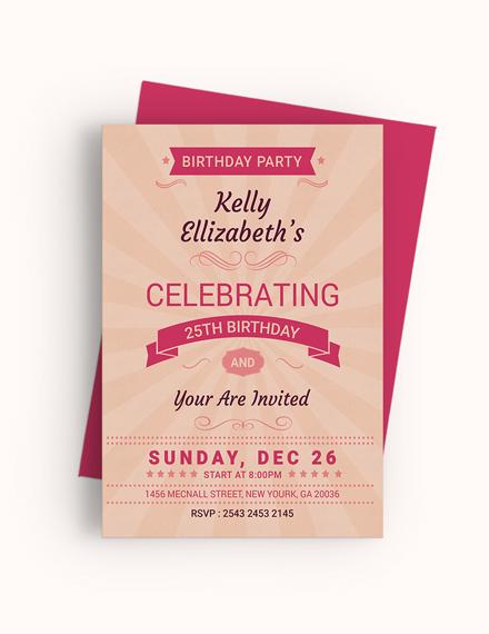Sample Happy Retro Birthday Party Invitation Card Template