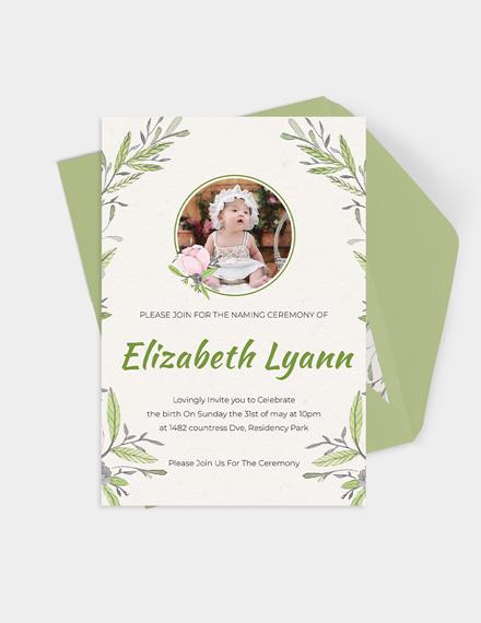 Heartfelt Baby Naming Ceremony Invitation Download