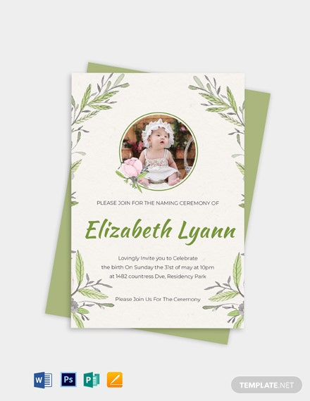 Heartfelt Baby Naming Ceremony Invitation Template