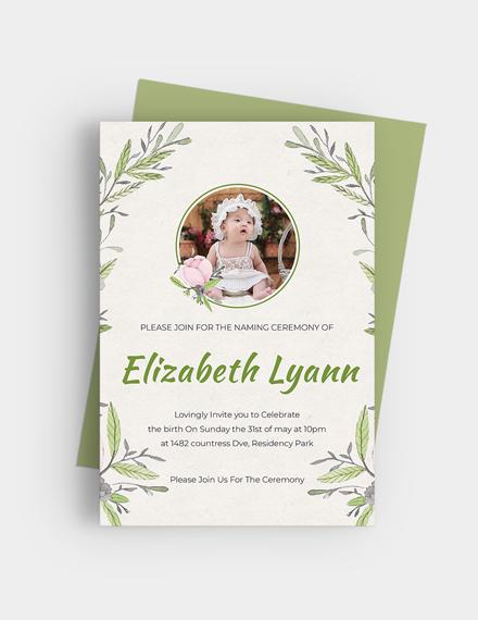 Sample Heartfelt Baby Naming Ceremony Invitation