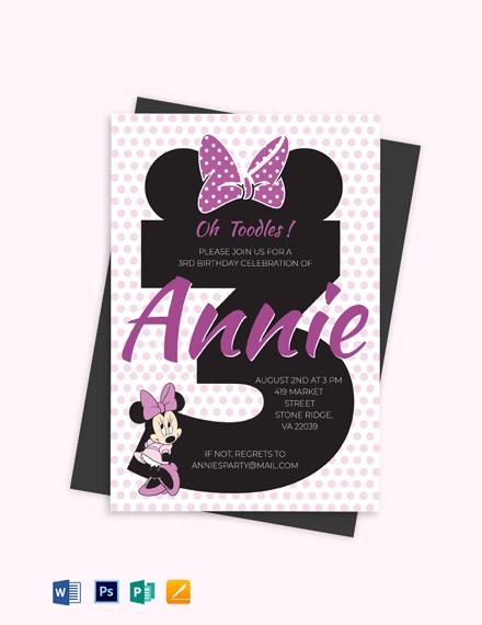 Joyous Minnie Mouse Invitation Template