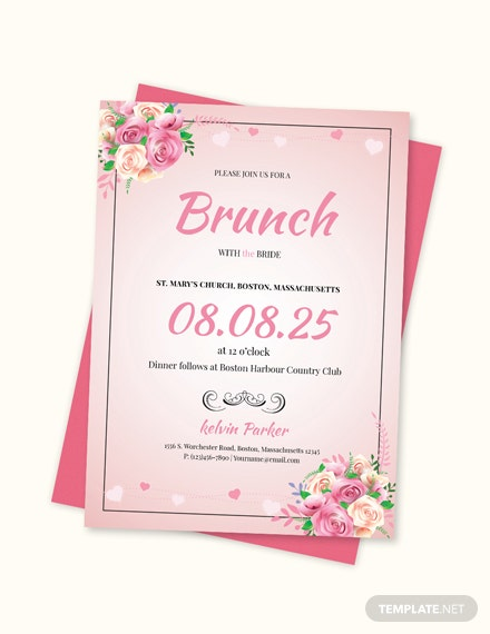 Sample Lovely Bridal Lunch Invitation Template