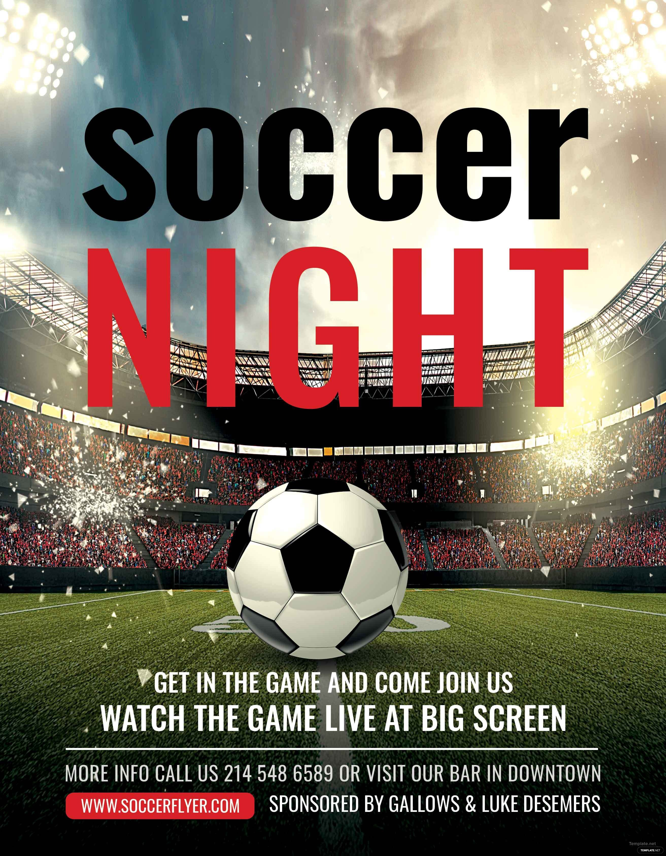 free soccer league night flyer template in adobe photoshop