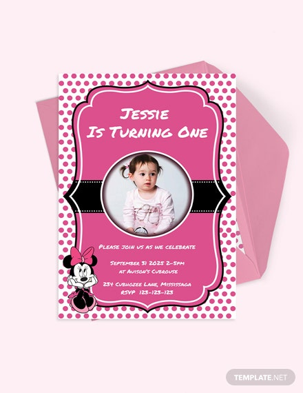Memorable Minnie Mouse Birthday Invitation Template Download