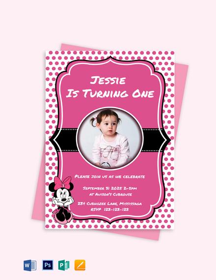 Memorable Minnie Mouse Birthday Invitation Template