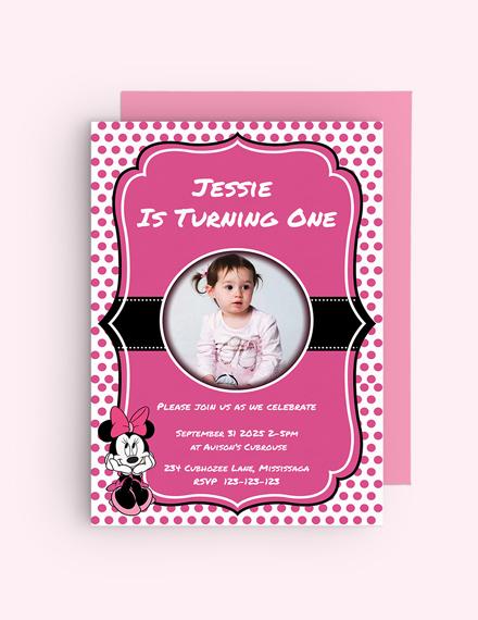 Sample Memorable Minnie Mouse Birthday Invitation Template