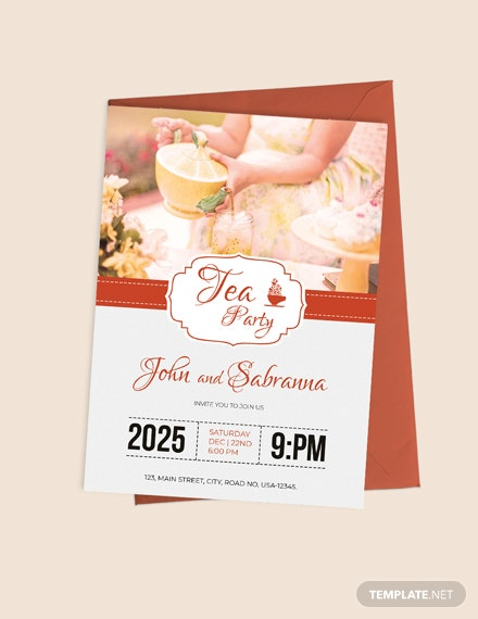 Modern Tea Party Invitation Template Download