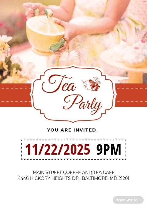 Modern Tea Party Invitation Template