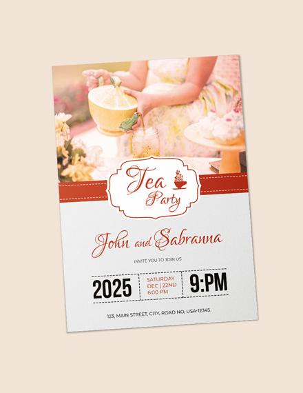 Sample Modern Tea Party Invitation Template