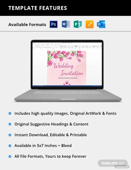 Editable Pink Floral Wedding Invitation Card Customise
