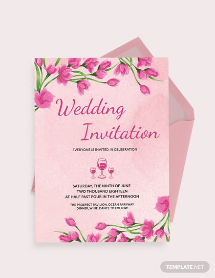 Pink Floral Wedding Invitation Card Template Download