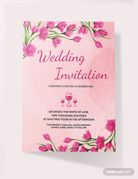 Sample Pink Floral Wedding Invitation Card Template