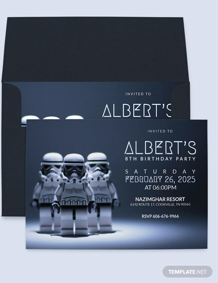 Robot Star Wars Birthday Party Invitation Template Download