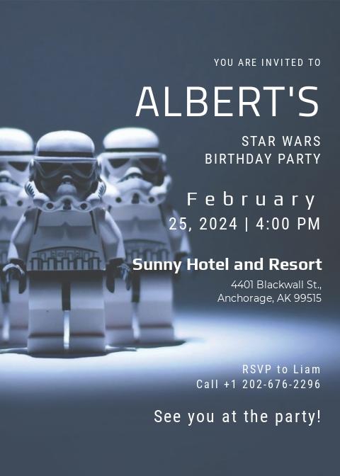 Robot Star Wars Birthday Party Invitation Template
