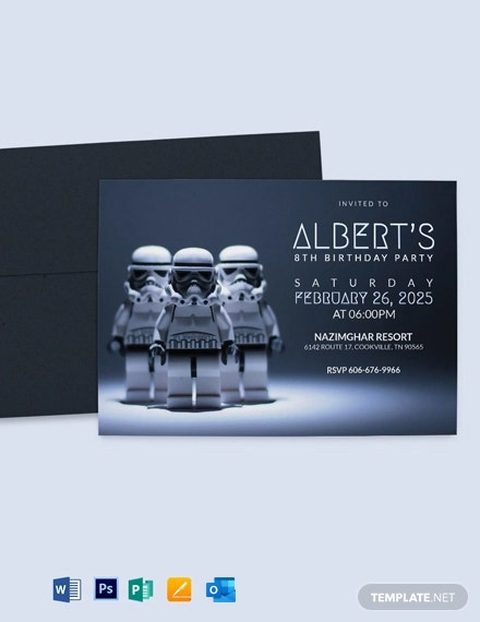 Robot Star Wars Birthday Party Invitation Template