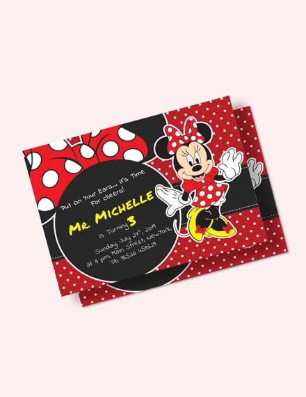 Rocking Minnie Mouse Birthday Invitation Download