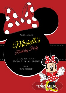 Rocking Minnie Mouse Birthday Invitation Template