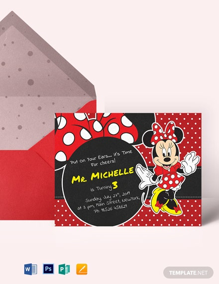 Rocking Minnie Mouse Birthday Invitation Template