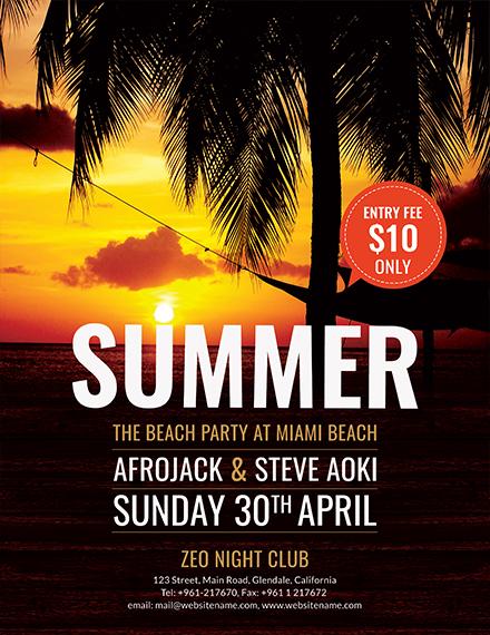 Free Summer Beach Flyer Template