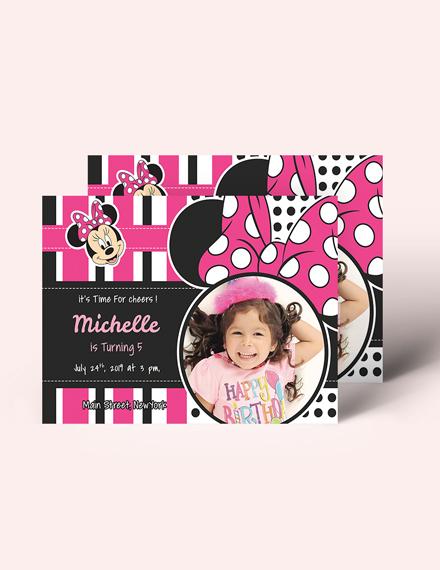 Sample Sparkling Minnie Mouse Birthday Invitation Template