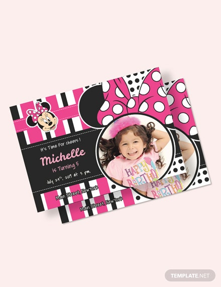 Sparkling Minnie Mouse Birthday Invitation Template Download