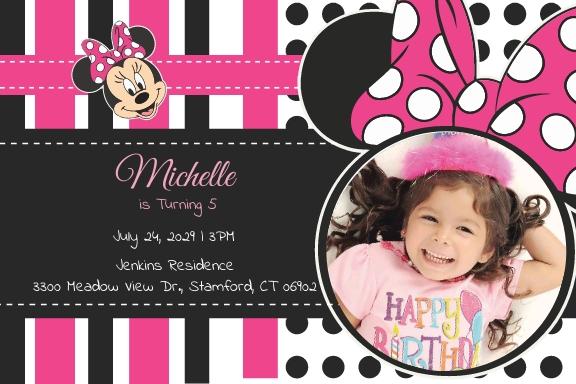Sparkling Minnie Mouse Birthday Invitation Template