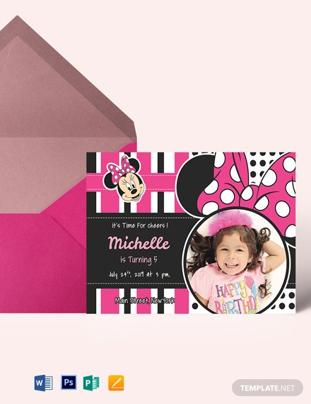 Sparkling Minnie Mouse Birthday Invitation Template