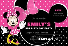 Special Minnie Mouse Birthday Invitation Template