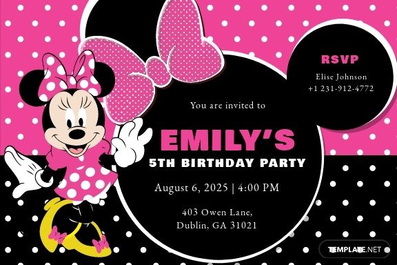 Special Minnie Mouse Birthday Invitation Template.jpe