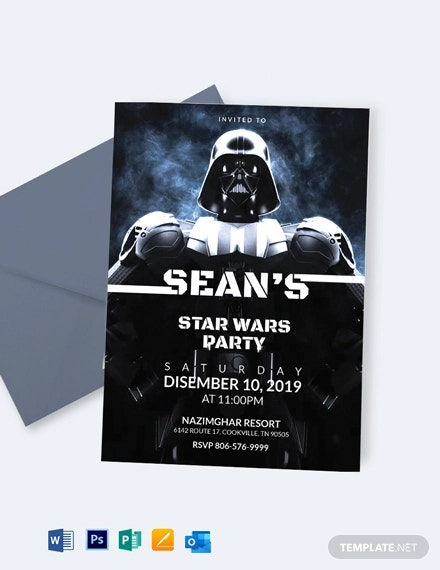Star Wars The Force Awakens Birthday Invitation Template